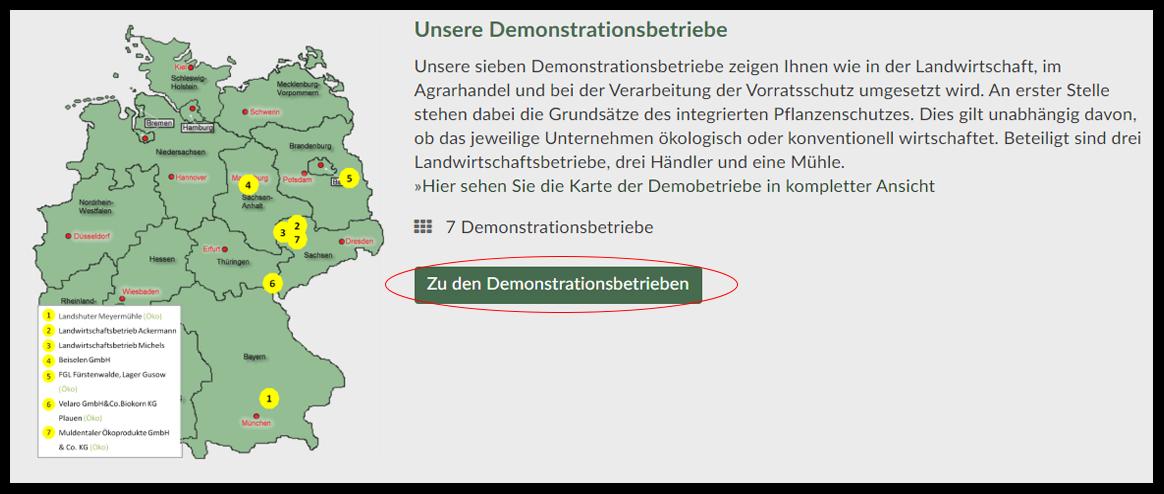 Screenshot der Seite der Demonstrationsbetriebe